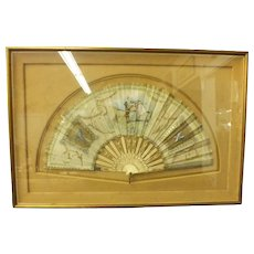 Antique French Hand Painted Fan w/ Pierced Gilt Sticks - Signed M. Verdetti