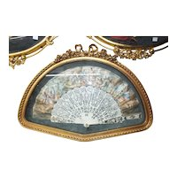 Antique French Hand Painted Fan /w Silver Inlay Sticks in Gilt Wood Shadow Box