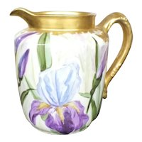 Beautiful Antique Hand Painted Haviland Limoges Water Pitcher w/ Iris's