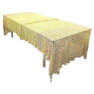 Antique Crochet Metallic Gold & Copper Bullion Tablecloth - One of a Kind - 13 feet long