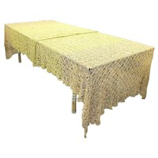 Antique Crochet Metallic Gold & Copper Bullion Tablecloth - One of a Kind - 13 feet long