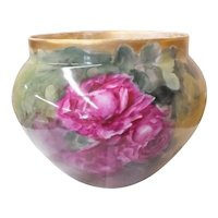 Antique French Hand Painted T & V Limoges  Jardiniere - Red & Pink Roses