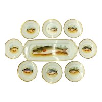 Beautiful Antique  D & C Limoges Fish Platter and  8 Plates