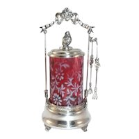 Antique Victorian  Daisy & Fern Cranberry Glass in Silver Pickle Caster