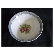 Blue Lusterware Bowl with Floral Center ~ Japan