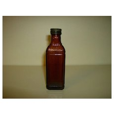 Brown Glass Ribbed Medicine Bottle ~ Owens Illinois Glass Co.