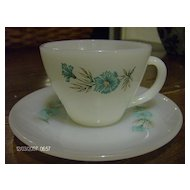 Fire King Cup & Saucer Bonnie Blue Pattern