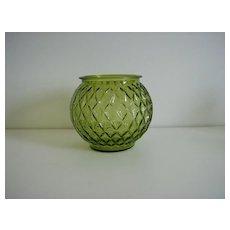 Anchor Hocking ~ Green Glass Ball Vase ~ Gemstone Pattern