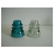 Hemingray 42 Insulators ~ Green ~ Clear