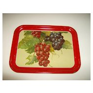 Red Metal Serving Tray ~ Grapes ~ 1960's