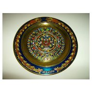 Brass and Enamel Mayan Calendar Plate ~ Mexico ~ 1970's