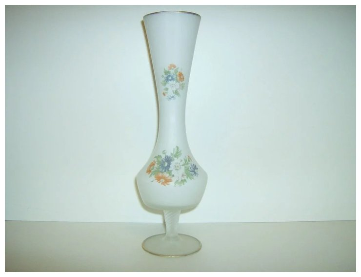 Hand Painted Satin Glass Vase Marys Menagerie Ruby Lane