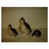 Howard Pierce   Pottery  Quail Family  Signed