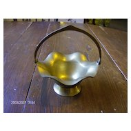 Brass Basket with Ruffled Edge and Movable Handle