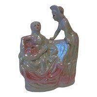 Pink Lusterware Victorian Ladies Figurine