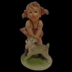 Girl and Puppy Porcelain Figurine 1960's
