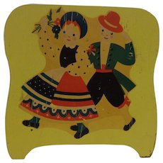 Wood Napkin Holder 1950's Dutch Boy & Girl