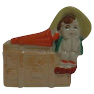 Ceramic Pottery Planter Girl with Umbrella Japan