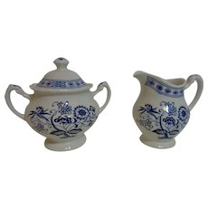 J & G Meakin Blue Nordic Creamer and Sugar Bowl