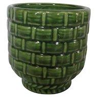 Haeger Pottery Green Planter Basket Weave # 131