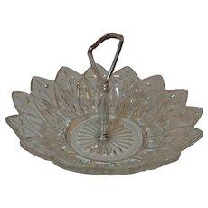 Federal Glass Handled Tidbit Bowl Petal Pattern