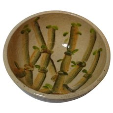 Speckled Pottery Bowl with Bamboo Design