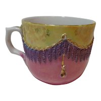 Porcelain Teacup Purple & Gold Tassels