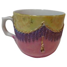 Porcelain Teacup Purple & Gold Tassels