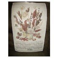 Linen 12 Month Calendar ~ 1984 ~ Bouquet of Fall Flowers