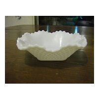 Hazel Atlas Diamond Squares Milk Glass Candy Dish