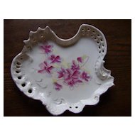 Vintage Porcelain Dresser Tray with Pink Flowers
