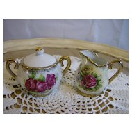 Mother of Pearl Rose Sugar and Creamer signed