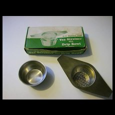 Vintage Tea Strainer with Drip Bowl Original Box