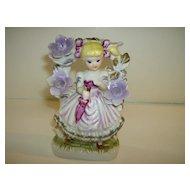 Porcelain Girl Under Flowered Trellis - Hand Painted - Korea