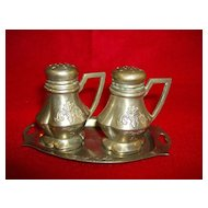Pewter Salt & Pepper Shakers with Tray