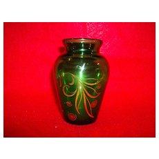 Anchor Hocking Forest Green Glass Vase with Gold Leaf Design