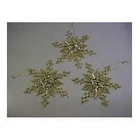 Gold Plastic Snowflake Ornaments