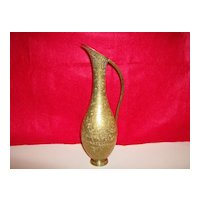 Solid Brass Etched Grecian Style Pitcher