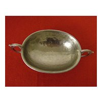 Hammered Aluminum Pedestal Nut or Bon Bon Bowl with Handles