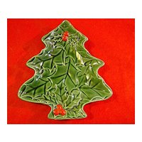 Lefton Green Holly Small Christmas Tree Dish 1970/71