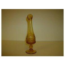 Pressed Glass Amber Bud Vase