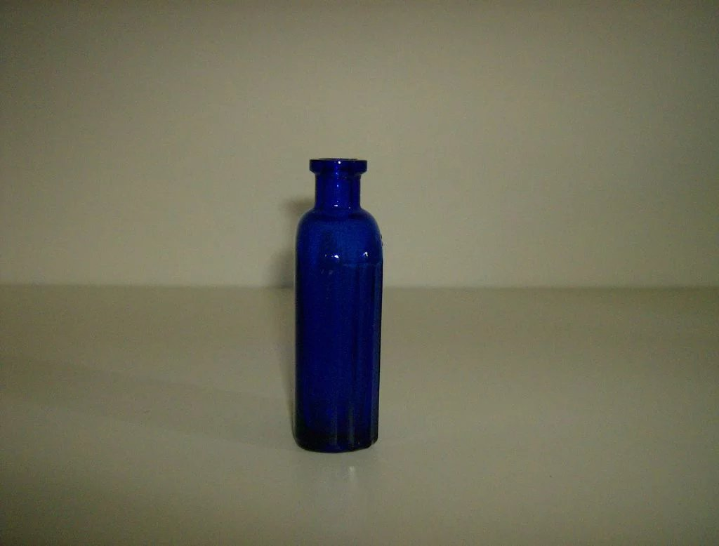 Cobalt Blue Ribbed Iodine Bottle Hazel Atlas Mary S