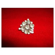 Silvertone Starburst Brooch with Rhinestones