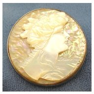 Carved Mother of Pearl Brooch