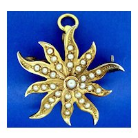 "14K Gold Seed Pearl ""Starburst"" Pin and Brooch."