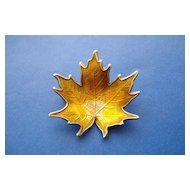 Enamelled Sterling Silver Leaf Pin.