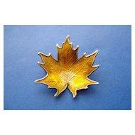Enamelled Sterling Silver Leaf Pin.