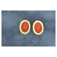 18k Gold & Genuine Coral Earrings.
