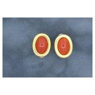 18k Gold & Genuine Coral Earrings.