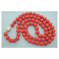 Natural Coral Bead Necklace with 14K gold lock